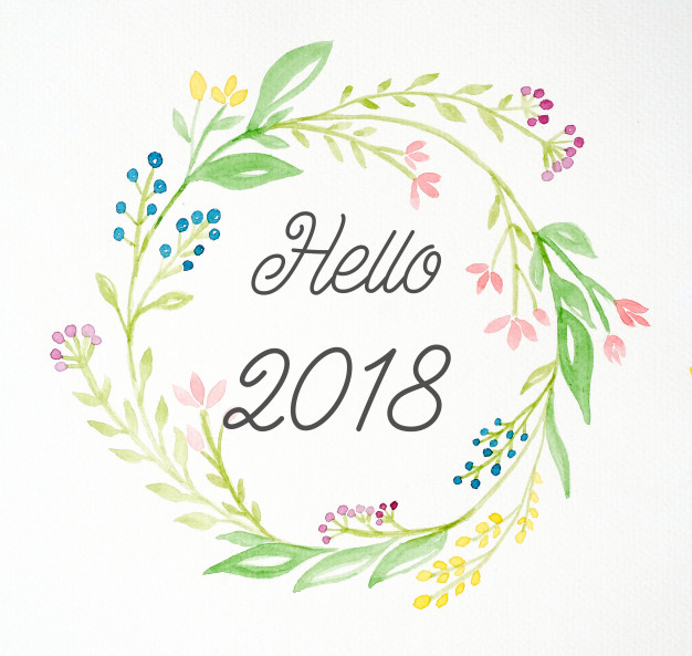 hello-2018-on-hand-painting-flowers-wreath-in-watercolor-style-over-white-paper-background_7190-922